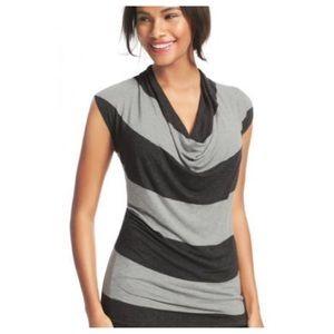 CAbi Black&Grey Stripe Cowl Neck Top Sz.S